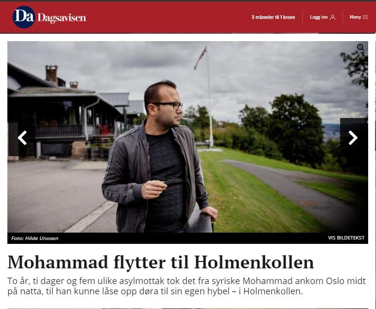 Faksimile av Dagsavisen - Mohammad foran Holmenkollen Restaurant